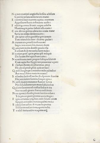 CATULLUS, TIBULLUS and PROPERTIUS. [OPERA], Milan, 1475