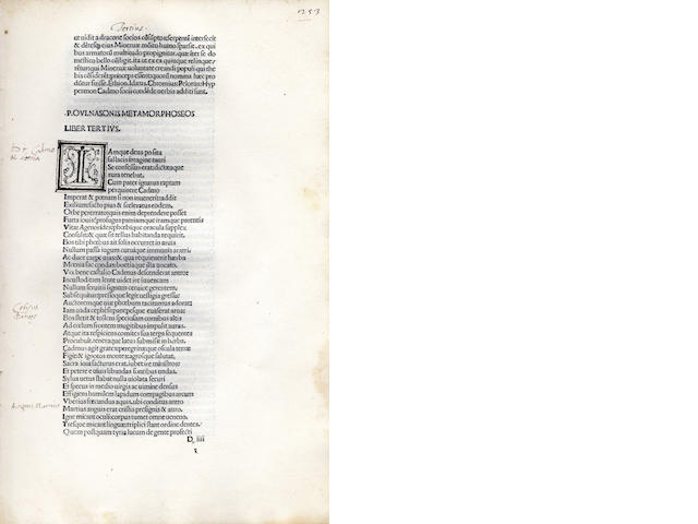 OVIDIUS NASO (PUBLIUS) Opera, 1486-1487