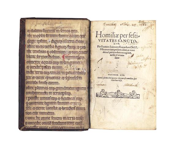 ROYARDUS (JOHANNES) Homiliae per festivitates sanctorum, 2 vol. in one, [1543?]; and another