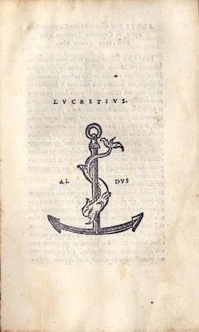 LUCRETIUS CARUS (TITUS) [De Rerum Natura], Aldus, 1515