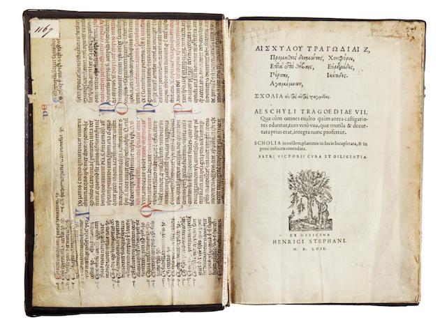 AESCHYLUS. Tragoedia selectae Aeschyli, Sophoclis, Euripidis, 1567