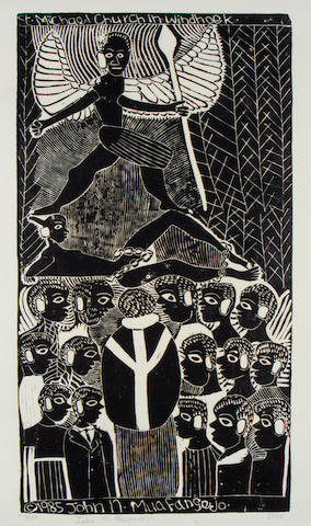 John Ndevasia Muafangejo (South African, 1943-1987) 'St. Michael Church Windhoek' 75.5 x 39.5cm (29 3/4 x 15 9/16in)(B).