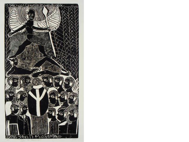 John Ndevasia Muafangejo (South African, 1943-1987) 'St. Michael Church Windhoek' 75.5 x 39.5cm (29 3/4 x 15 9/16in)(B).