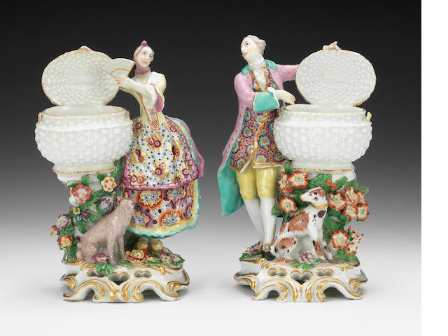 A pair of Chelsea figures with baskets, circa 1762-65