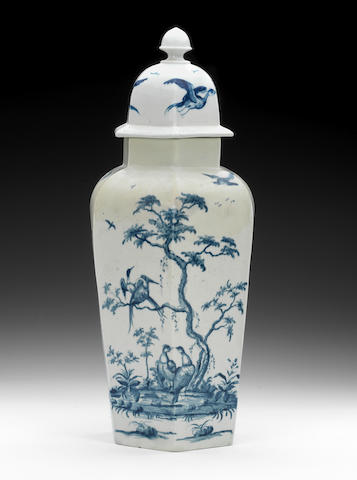 A rare Worcester vase and cover, circa 1758