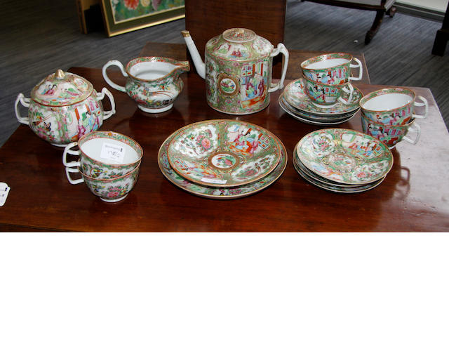 A late 19th Century Chinese famile rose part tea service.