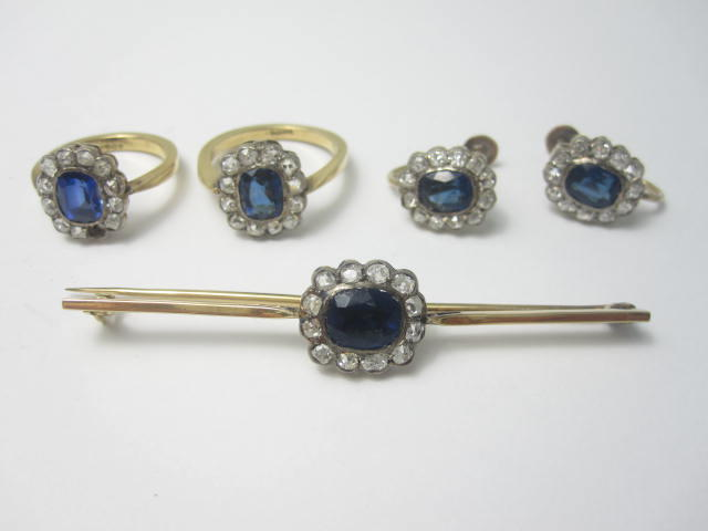 A collection of sapphire and diamond cluster jewellery