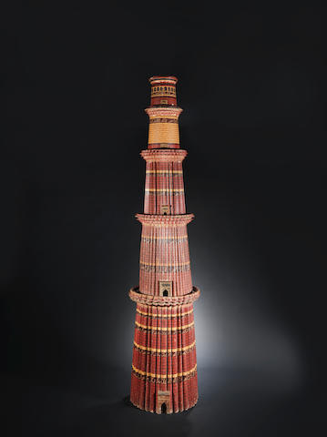 A large polychrome painted wood model of the Qutub Minar Delhi, circa 1900