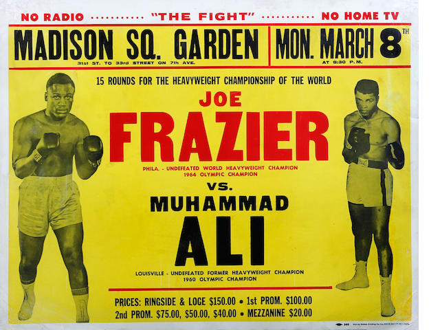 1971 Muhammad Ali v Joe Frasier original on site poster - 'Fight of the Century'