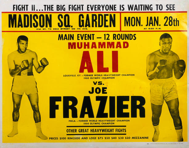 1974 Muhammad Ali v Joe Frasier original on site poster - fight II