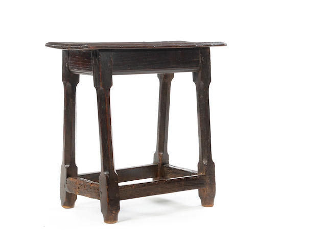 An oak joint stool, possibly 17th century