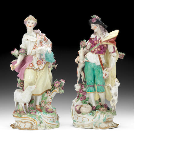 A large pair of Chelsea figures of a Shepherd and Shepherdess, circa 1765