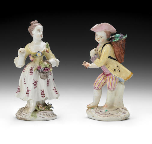 A pair of Bow figures of grape gatherers, circa 1755-58