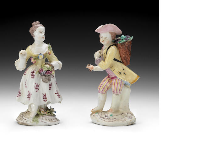 A pair of Bow figures, circa 1755-58