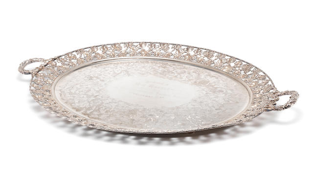 An electroplated  oval tray