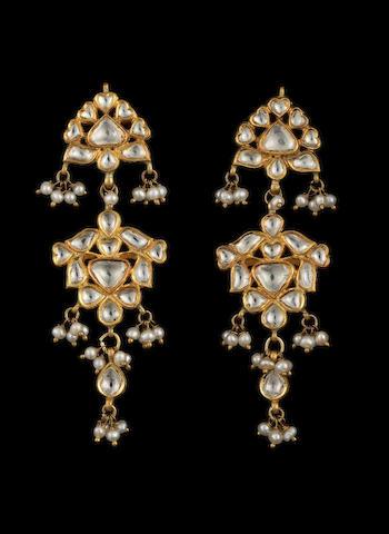 A pair of diamond-set enamelled gold pendent Earrings Jaipur