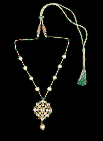 A gem-set enamelled gold and cultured pearl Necklace Jaipur