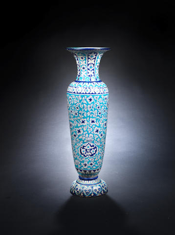 A large Multan underglaze-painted pottery Vase North-Western India, 19th Century