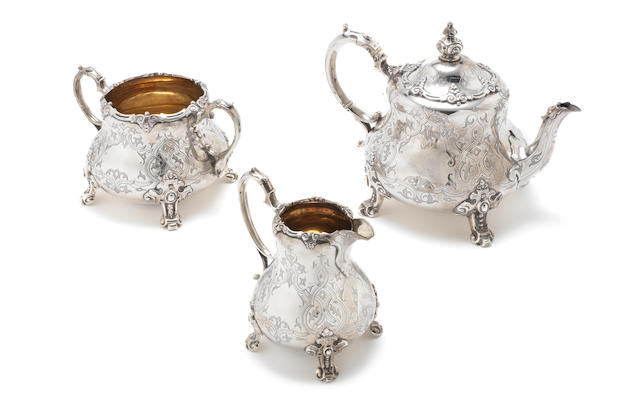 A Victorian silver three-piece tea service by George John Richards & Edward Charles Brown, London 1859  (4)