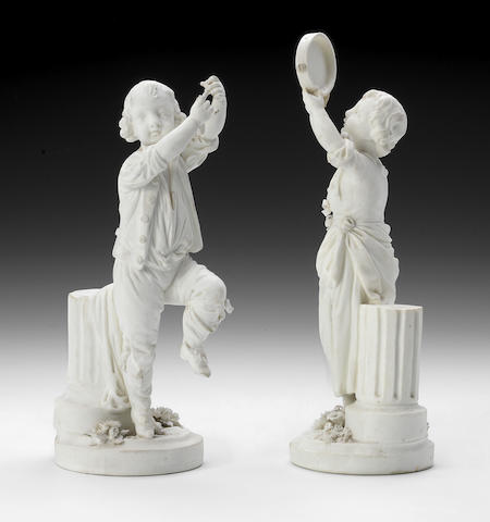 A rare pair of Derby biscuit figures of Musicians, circa 1775