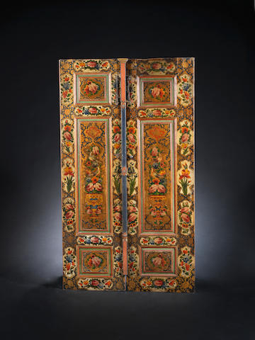 A pair of Qajar lacquered wood Doors Persia, 19th Century(2)