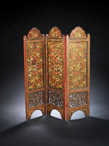 A lacquered wood Screen Kashmir, second half of 19th Century