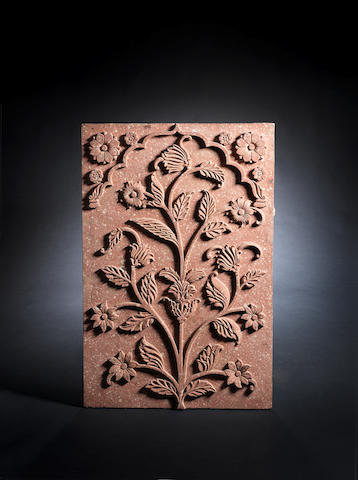 A Mughal red sandstone Architectural Panel Northern India, 17th Century