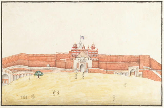 Three views of monuments: the Taj Mahal; the entrance gateway to the garden court of the Taj Mahal; the Red Fort at Agra with the Union Flag flying Company School, Delhi or Agra, circa 1820-30(3)