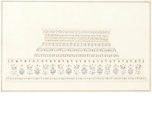 Four studies of decorative pietra dura work at the Taj Mahal Company School, Delhi or Agra, circa 1820-30(4)