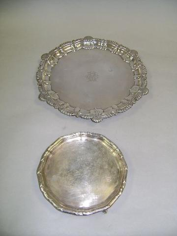 Silver salver and small waiter.