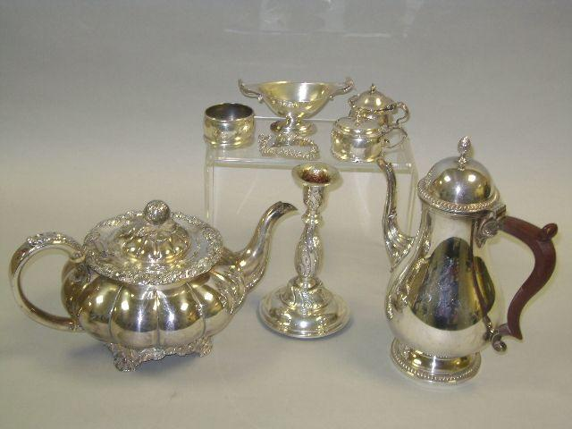 Silver plated teapot and coffee pot, together with small silver items comprising four cruets, sherry label and continental candlestick
