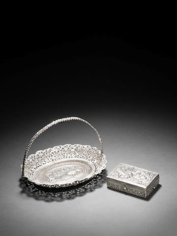 A repoussé silver Tray and Box possibly Lucknow, India, late 19th Century(2)