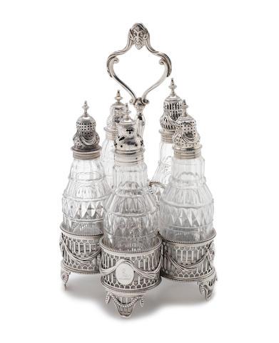 A George III silver five-piece bottle cruet  by Thomas Daniel, London 1774