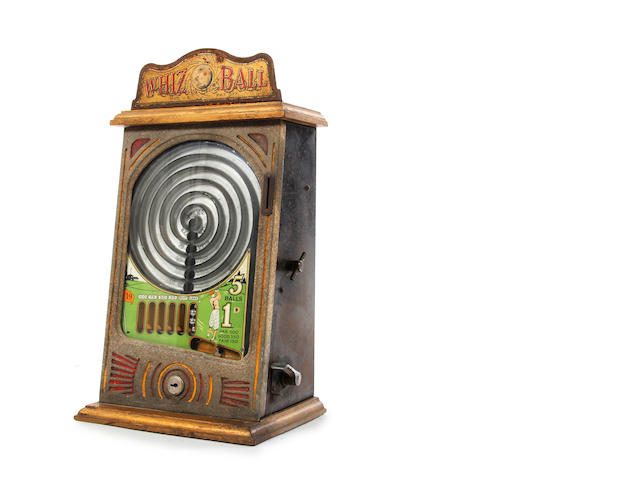 A counter top mechanical slot machine 'Whizz Ball' circa 1920