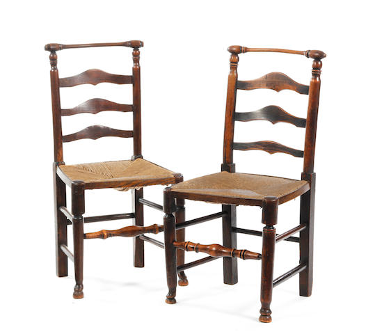 Set of 10 rush seated chairs