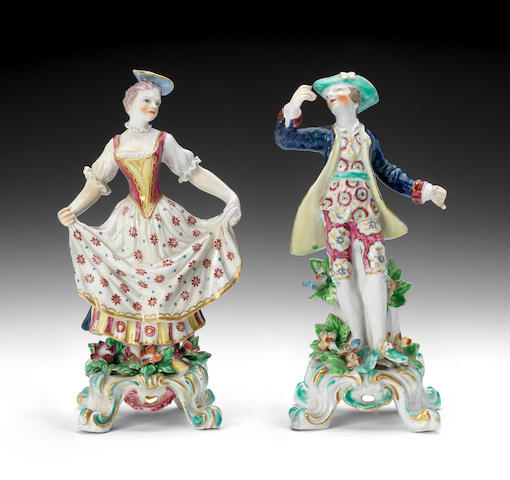 Two Bow figures of the Sailor and lass, circa 1765-70