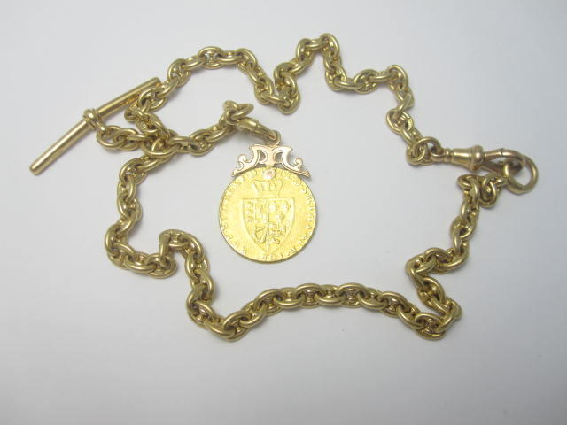 An Albert watch chain and coin fob