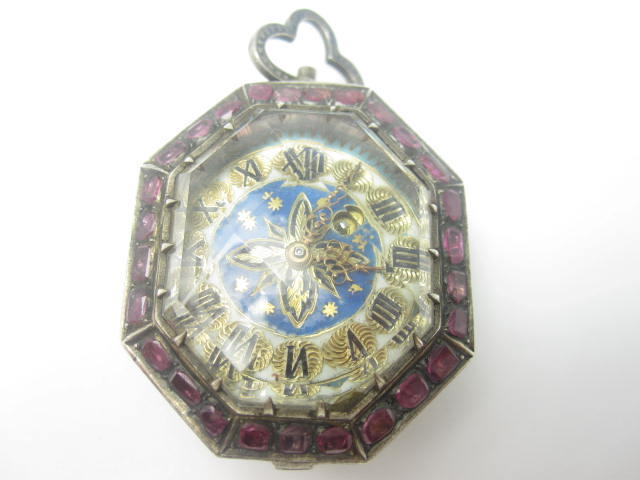 A ruby & enamel fob watch