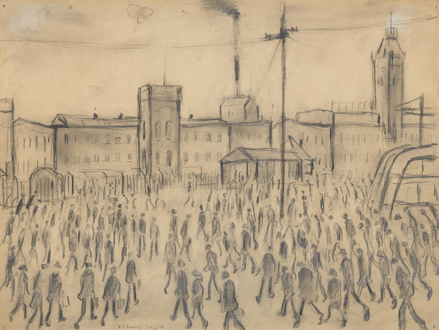 Laurence Stephen Lowry R.A. (British, 1887-1976) Going To Work, signed and dated 1944, pencil, 27 x 36.3cm.