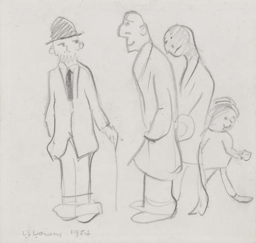 Laurence Stephen Lowry R.A. (British, 1887-1976) Conversation In The Street, signed and dated 1954, pencil,14.5 x 15.2cm.