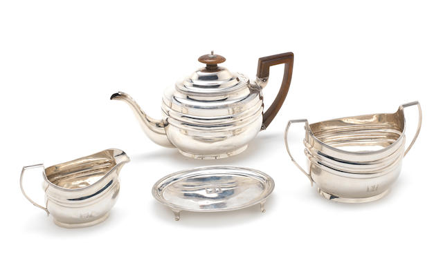 A George III four piece silver tea service by Charles Fox, London 1805-6