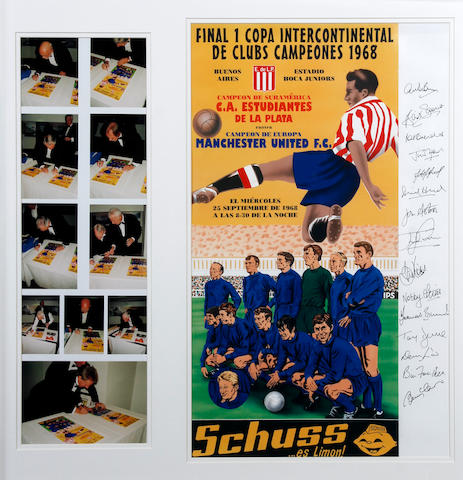 1968 World Club Championship lithograph hand signed by Manchester United players