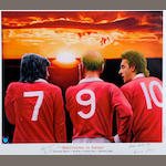 'Brothers in Arms' Best/Charlton/Law lithograph hand signed by Charlton and Law