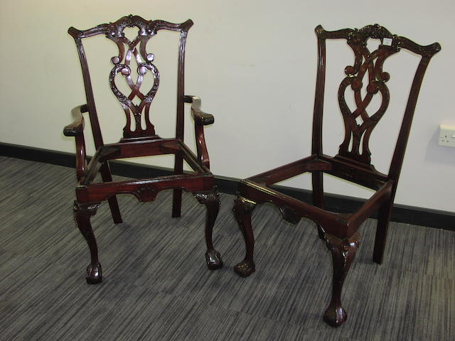 A matched set of ten 20th Century mahogany dining chairs