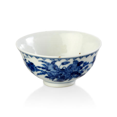 A small blue and white bowl Marked Guangxu and of the period