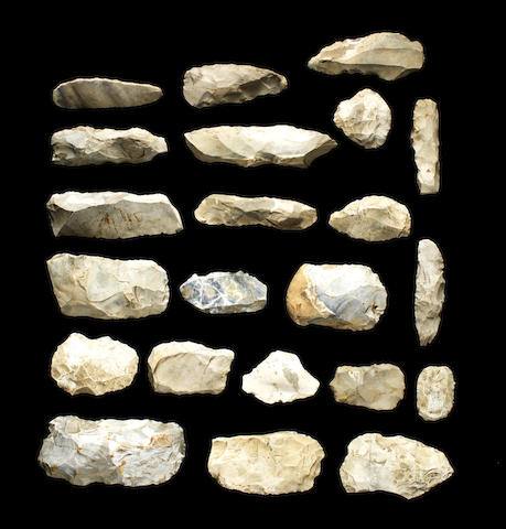 A collection of French flint implements Palaeolithic-Mesolithic