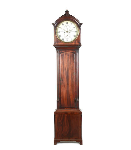 A mahogany drum head longcase clock, second quarter 19th century  Inscribed C.Merrilies Edinburgh