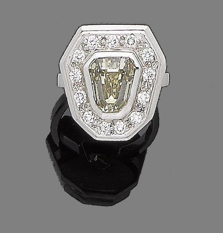 A fancy coloured diamond dress ring
