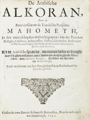QU'RAN. De Arabische Alkoran, door de Zarazijinsche en de Turcksche Prophete Mahometh, 1641