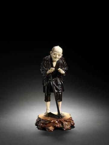 A bronze and ivory figure of a farmer By Hideyoshi, Meiji Period